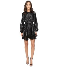 Just Cavalli Kaliedo Tigers Metallic Flock Long Sleeve Dress Black Women's Dress