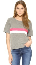 Sundry Stripes Short Sleeve Sweatshirt Heather Grey
