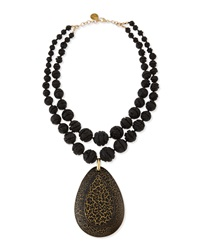 Double Strand Carved Lava Bead And Wood Pendant Necklace 21' Devon Leigh