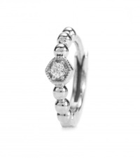 Stone Tiny Hoop Charmante 18Kt White Gold And Diamond Single Earring Silver