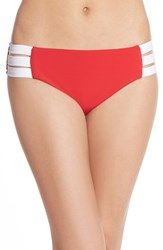 Seafolly Women's 'Block Party' Strappy Hipster Bikini Bottoms Chilli Red