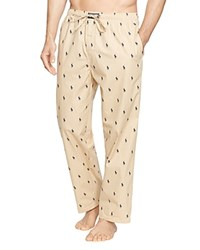 Polo Ralph Lauren Pony Print Woven Pajama Pants Dune Tan Cruise Navy