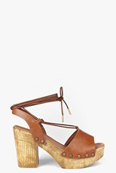 Boohoo Two Part Ghillie Wooden Heel Tan