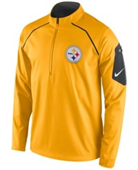 Nike Men's Pittsburgh Steelers Alpha Fly Rush Quarter Zip Jacket Yellow Black White