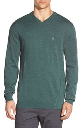Men's Volcom 'Upstand' Slim Fit V Neck Sweater Emerald Green