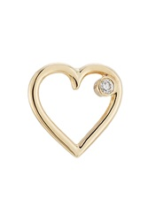 Aurelie Bidermann Fine Jewelry 18Kt Yellow Gold Heart Earring With White Diamond