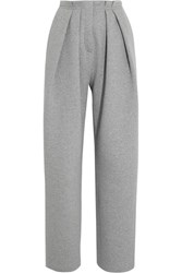 Vika Gazinskaya Pleated Quilted Stretch Cotton Tapered Pants Gray