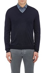 Barneys New York Men's Wool V Neck Sweater Navy