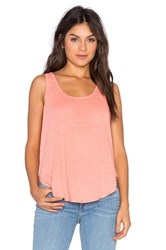 Heather Linen Scoop Tank Coral