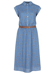 Sugarhill Boutique Charlie Folk Bird Midi Shirt Dress Blue