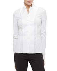 Akris Long Sleeve Notched Collar Poplin Blouse White 10