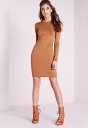 Missguided Jersey Bodycon Mini Dress Tan Brown