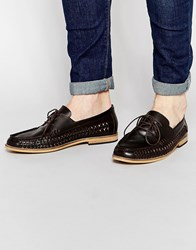 Frank Wright Woven Loafers In Brown Brown