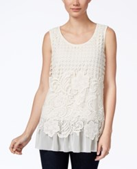 Styleandco. Style Co. Petite Crocheted Chiffon Hem Top Only At Macy's Vintage Cream