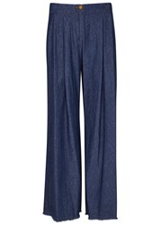 Raquel Allegra Blue Pleated Wide Leg Jeans Denim