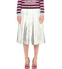Gucci Pleated Metallic Leather Skirt Silver Met
