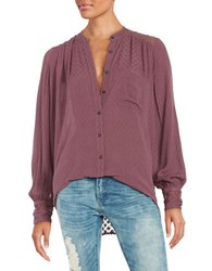 Free People The Best Top Crochet Accented Button Front Shirt Purple