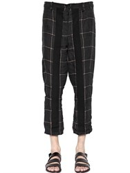 Damir Doma Cropped Check Printed Linen Pants