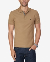 Nautica Men's Slim Fit Performance Deck Polo Oyster Brown