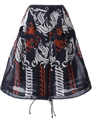Sacai Calligraphy Print Drawstring Skirt Blue
