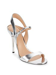 Halston Metallic Leather Ankle Strap Sandals Silver