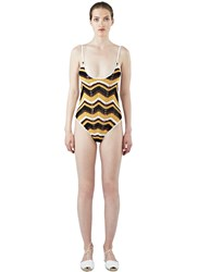 All That Remains Honey Zigzag 70S Swimsuit Brown