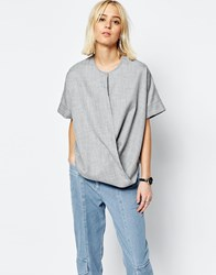 Asos White Drape Front Top Grey