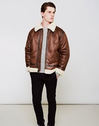 Alpha Industries Faux Shearling Jacket Brown