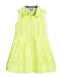 Milly Minis Sleeveless Striped A Line Shirt Citron