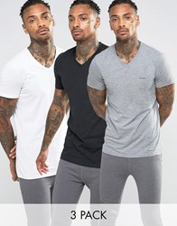 Diesel V Neck T Shirt In 3 Pack Multi