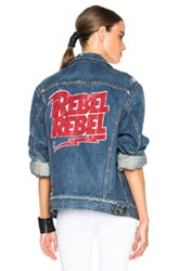 R 13 R13 Embroidered Rebel Trucker Jacket In Blue