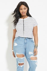 Forever 21 Plus Size Striped Tee White Navy