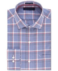 Tommy Hilfiger Men's Classic Fit Non Iron Blue Plaid Dress Shirt