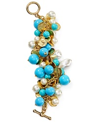 Kenneth Jay Lane Beaded Charm Bracelet Gold Turquoise Pearl