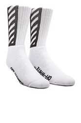 Off White Brushed Diagonal Socks White