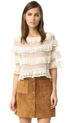 Red Valentino Point D'esprit Top Ivory
