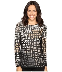 Nic Zoe Pattern Play Top Neutral Mix Women's Clothing Black