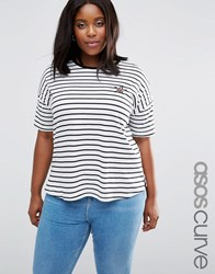 Asos Curve Longline Stripe T Shirt With Sequin Star Badge Multi