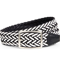 Andersons Woven Elasticated Belt White Navy