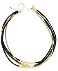 Inc International Concepts Gold Tone Leather And Coil Collar Necklace Only At Macy's Black