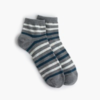 J.Crew Striped Donegal Ankle Socks Hthr Pewter