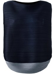 Issey Miyake Pleats Please By Pleated Sleeveless Blouse Blue