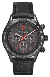 Versus By Versace 'Cosmopolitan' Chronograph Leather Strap Watch 44Mm Black
