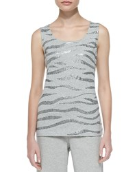 Joan Vass Sequined Cotton Shell Gray Heather