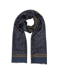Forzieri Micro Paisley Print Silk And Modal Reversible Men's Scarf Blue
