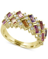 Effy Watercolors Multi Sapphire 1 3 8 Ct. T.W. And Diamond 1 2 Ct. T.W. Ring In 14K Gold Yellow Gold