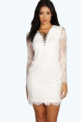 Boohoo Lace Tie Up Detail Bodycon Dress Ivory