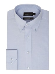 Double Two Long Sleeve Oxford Button Down Shirt Blue