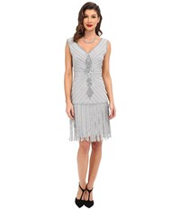 Unique Vintage Hand Beaded Aelita Flapper Dress Silver Women's Dress