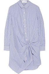 Thakoon Tie Front Striped Cotton Shirt Dress Blue